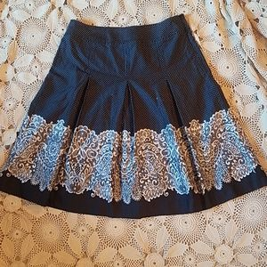 Talbots pleated navy dot skirt with fun border